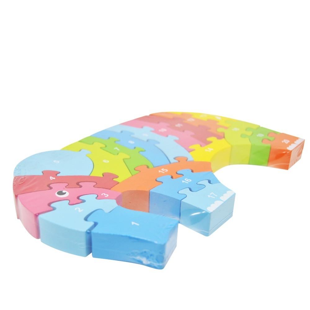 Puzzle Legno 20pz Elefante Numeri Giocattolo Bambini Giochi Educativi