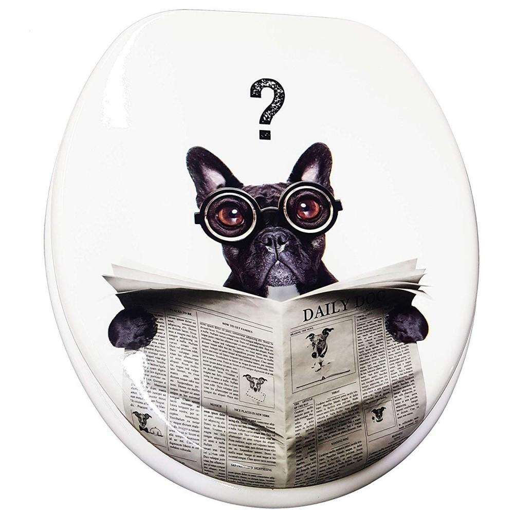 Copriwater universale cagnolino nero giornale esy 69002 for Tazza bagno