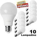 KIT DA 10 LAMPADINE LED E27 DA 12W LUCE BIANCO FREDDO CALDO CLASSE A