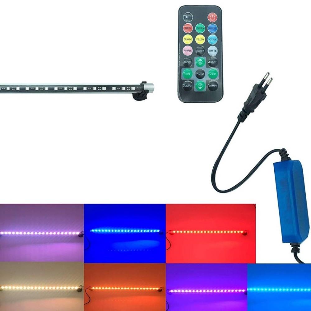 LAMPADA TUBO IMMERSIONE LED NEON RGB BIANCO ACQUARIO PESCI PIANTE TELECOMANDO T4