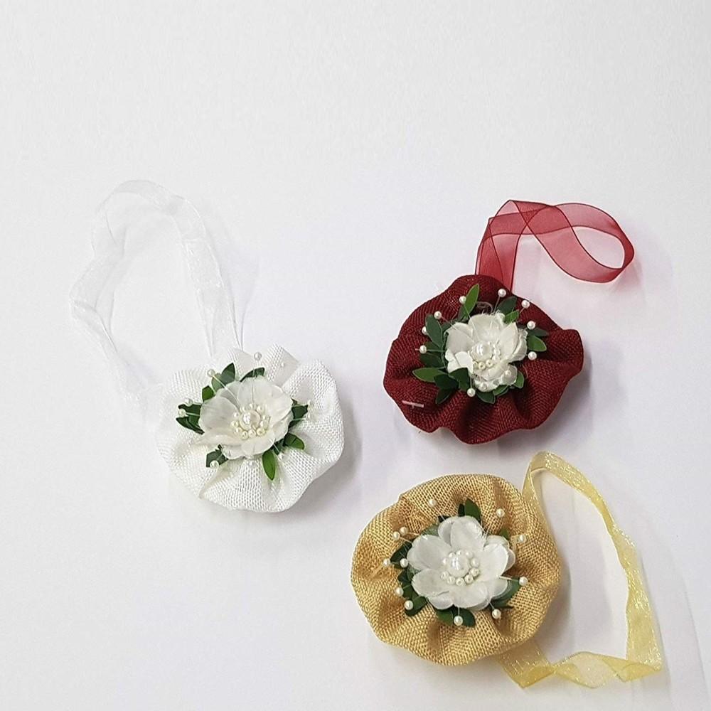 Set di due calamite per tenda con fiore bianco