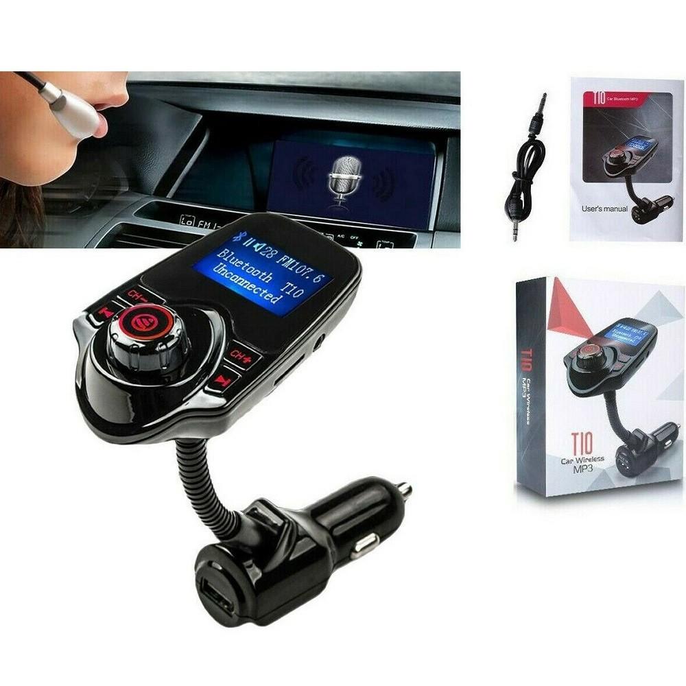TRASMETTITORE FM BLUETOOTH WIRELESS T10 AUTO VIVAVOCE LETTORE MP3 USB