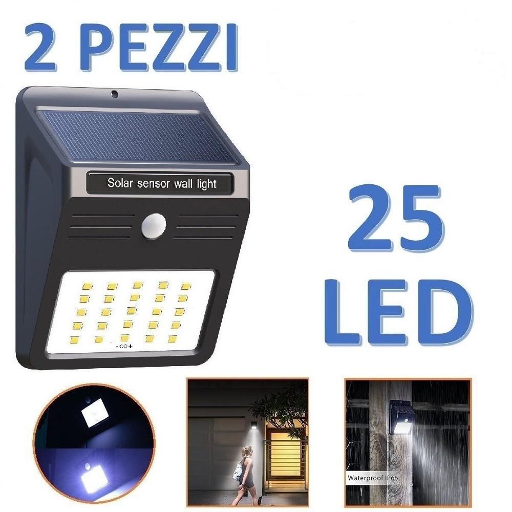 2 LAMPADA SOLARE 60 LED  FARETTO DA ESTERNO GIARDINO FOTOVOLTAICO SENSORE MOVIM