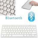 TASTIERA QWERTY BLUETOOTH WIRELESS PER TABLET SMARTPHONE SMART TV PC BIANCA SLIM