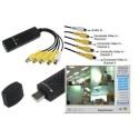 SCHEDA ACQUISIZIONE EASYCAP USB 2.0 PC NOTEBOOK 4 CANALI DVR VIDEO SORVEGLIANZA