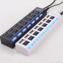 CIABATTA USB MULTIPRESA HUB CON 7 PORTE USB 2.0 NERA O BIANCA E LED BLU