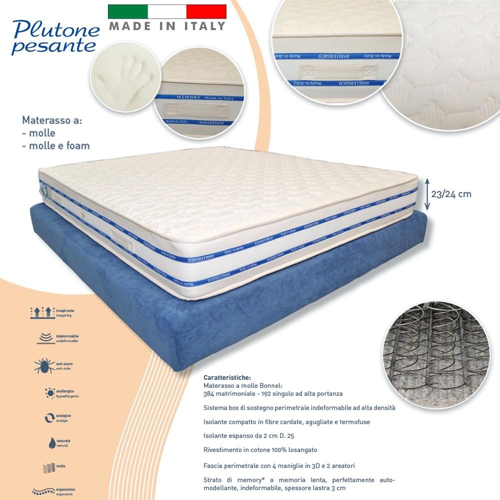 Materasso Singolo 80x190 Alto 24 Cm A Molle E Memory Foam Ortopedico Anallergico