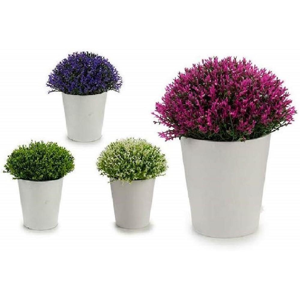 Vaso Con Ortensie Finte dettagli su mini vaso bianco fiori artificiali colorati 15x15x15cm piantina  pianta appendere