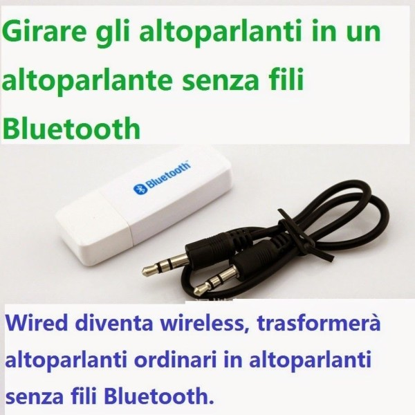 Usb wireless bluetooth audio music receiver stereo per iphone samsung tab pc