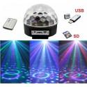 PROIETTORE A SFERA LED LUCI EFFETTI DISCOTECA DJ RGB MULTICOLORE USB SD CARD Off