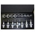 "Kit Inserti e Bussole Boccole impronta torx per set 17 pezzi 1/2"" 3 4"