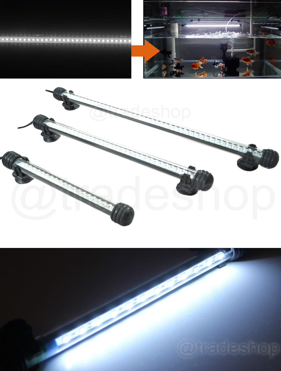 LAMPADA-IMMERSIONE-LED-PER-ACQUARIO-TUBO-LED-T4-DEE-LUCE-PESCI-BIANCA-RGB-BLU miniatura 5