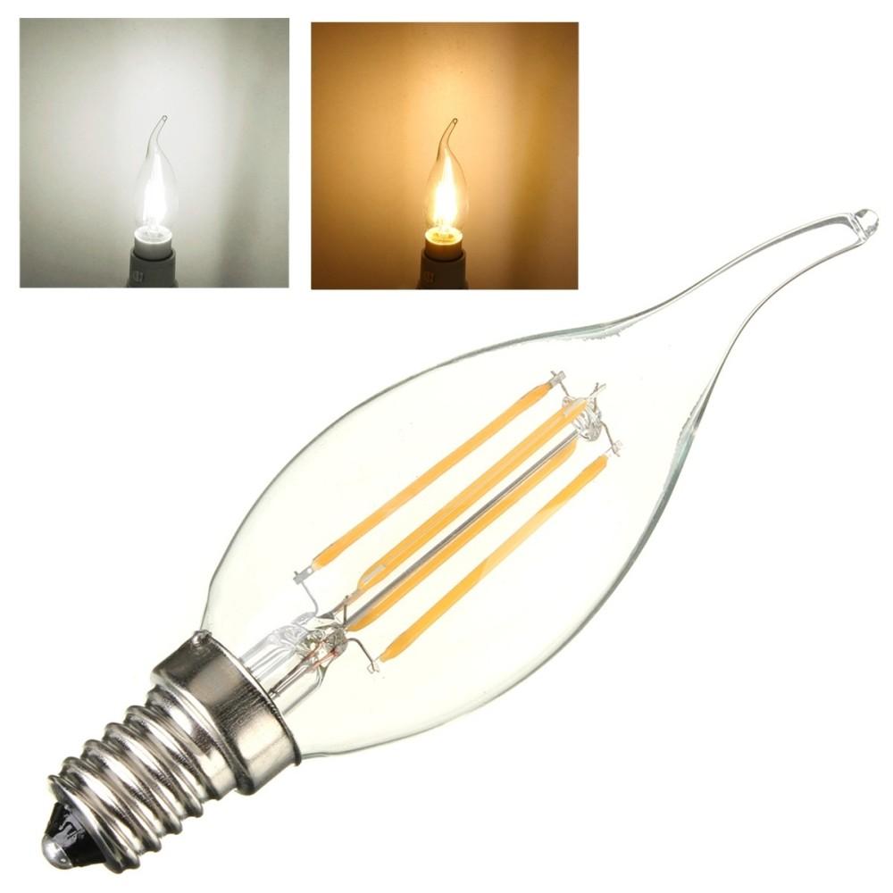 Lampada filamento led e14 luce fredda calda 4 w fiamma led for Lampada led e14